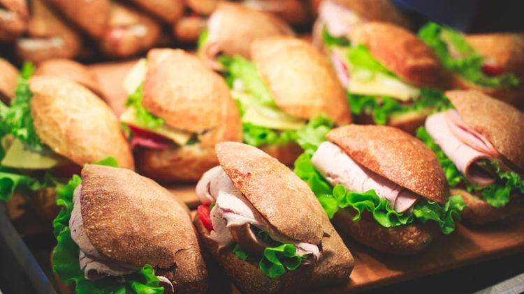 A large selection of sandwiches
